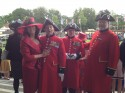 3 Chelsea Pensioners and Vanessa Vallely at Ascot Racecourse 2012