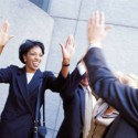 businesswomen-highfive