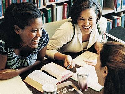 business school women talking