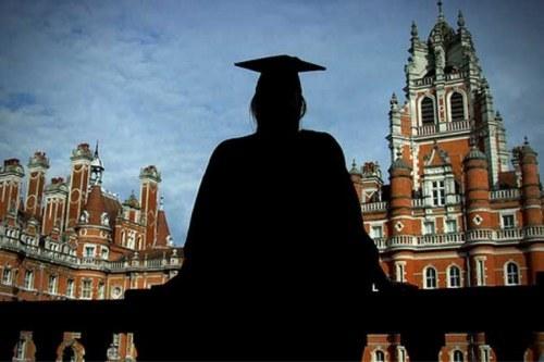 Graduated woman, university