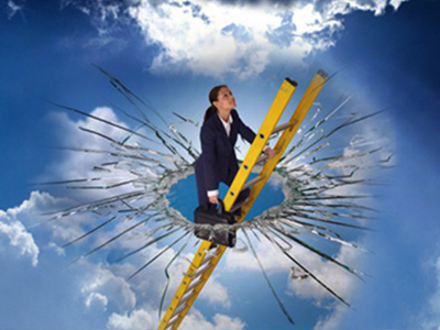 Woman smashing the glass ceiling-thumbnail