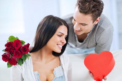 Couple giving Valentine gifts