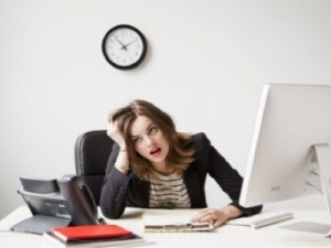 Stressed woman in work