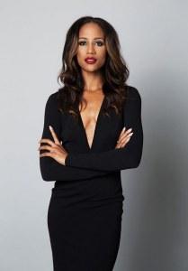 April Jackson in a black dress.