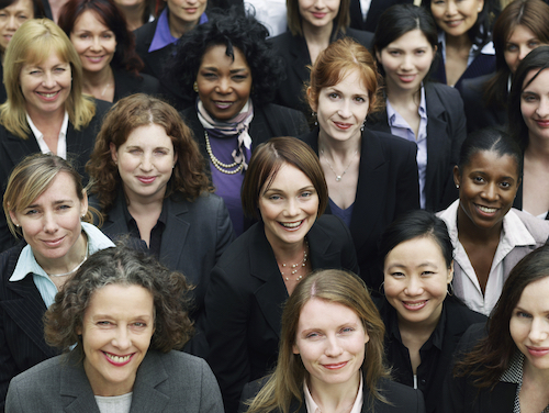 group of diverse women looking at camera