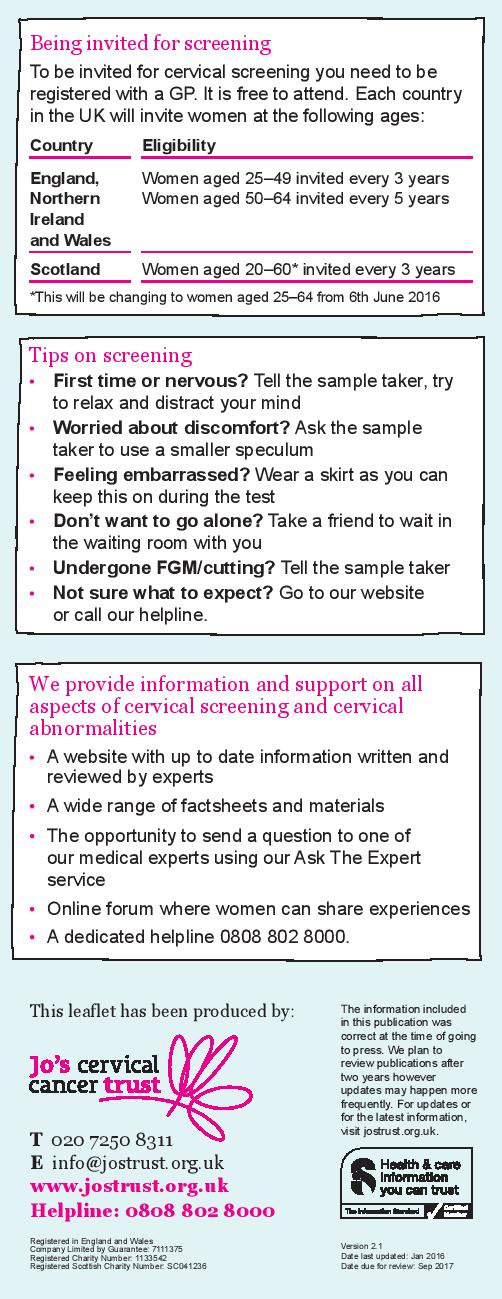 Cervical Screening Awareness Week, fact sheet