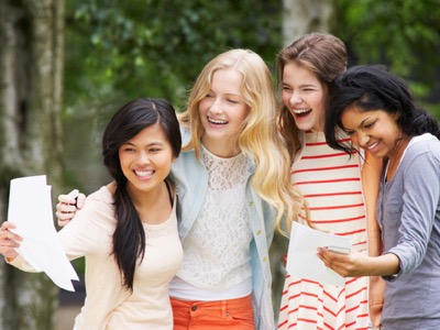 girls collecting exam results featured