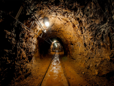 Dark, dingy mining tunnel