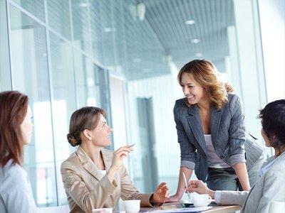 Female leader during board meeting