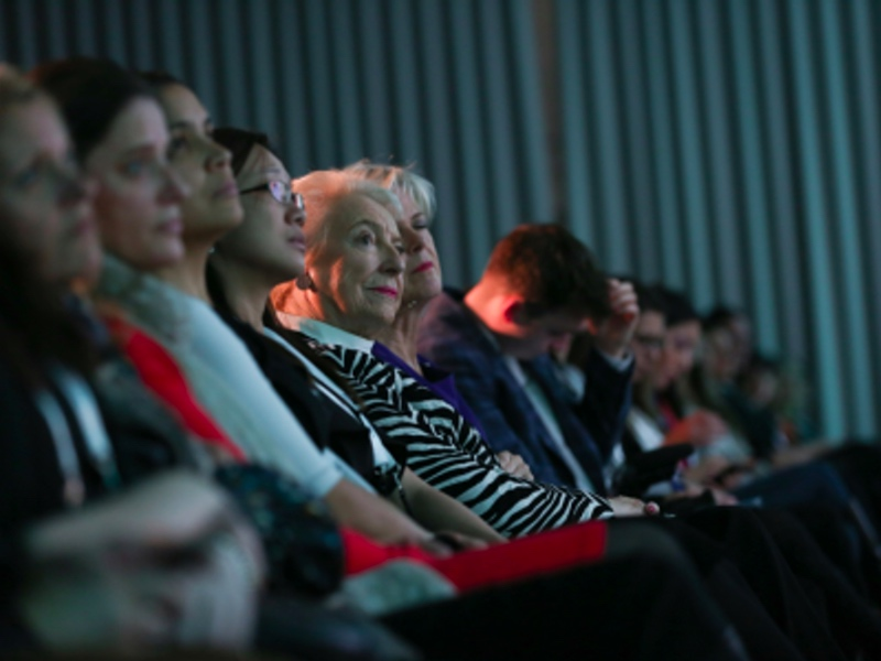 The audience listening to inspiring speakers at the WeAreTechWomen conference