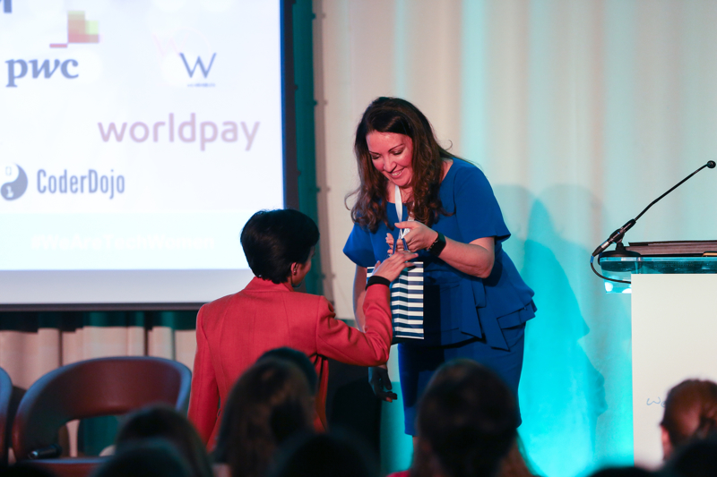Vanessa Vallely, Managing Director, WeAreTechWomen giving away our STEM prize