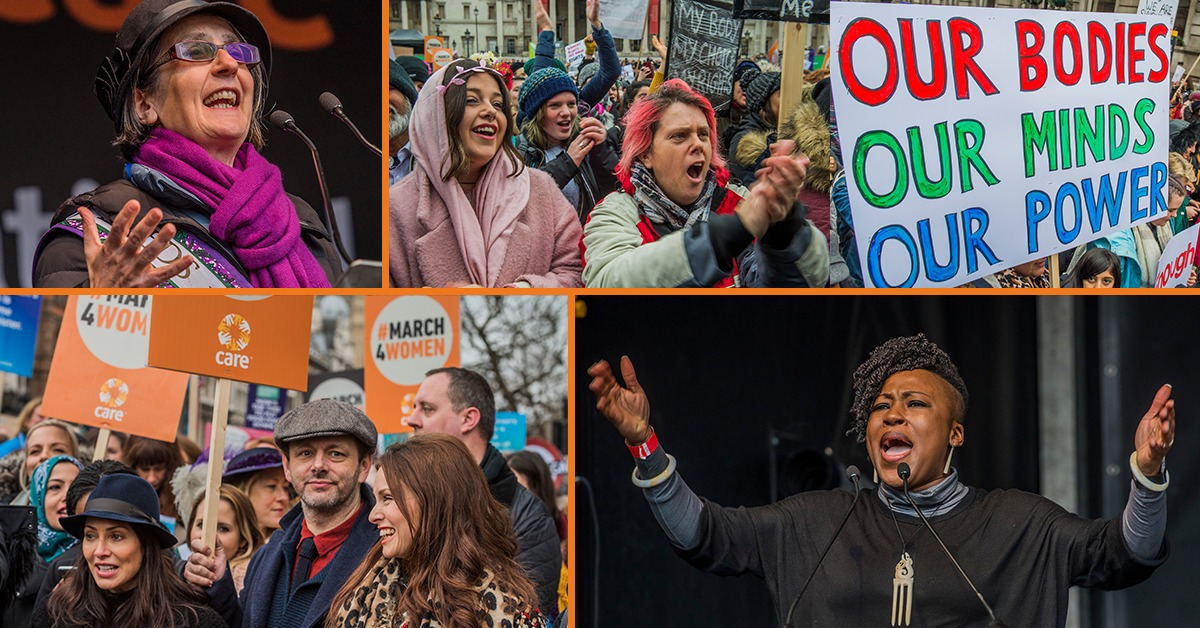 A composite of images to promote 2019 #March4Women campaign