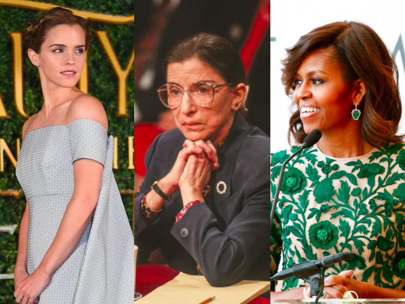 Emma Watson, Ruth Bader-Ginsburg, Michelle Obama featured
