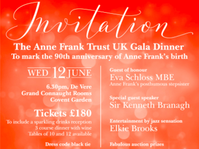 Invitation - Anne Frank 90th Anniversary Gala 12.06.19 featured
