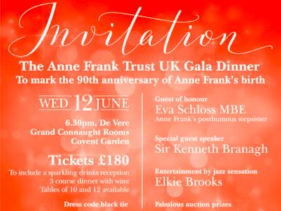 Invitation - Anne Frank 90th Anniversary Gala 12.06.19 featured
