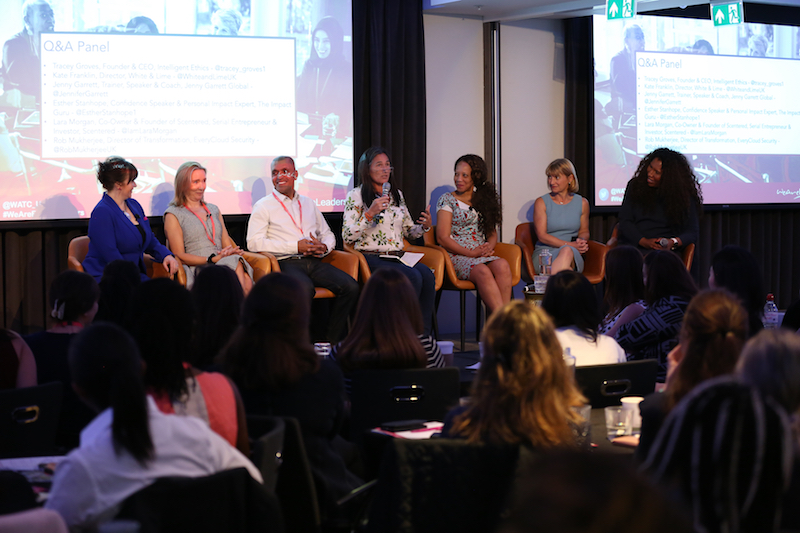 Q&A panel with Tracy Groves; Kate Franklin; Jenny Garrett; Esther Stanhope; Rob Mukherjee, Director of Transfomation, Everycloud Security; & Lara Morgan, Co-Owner and Founder of Scentered, Serial Entrepreneur and Investor