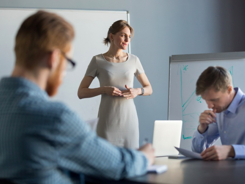 male managers, woman presenting, stressed woman featured