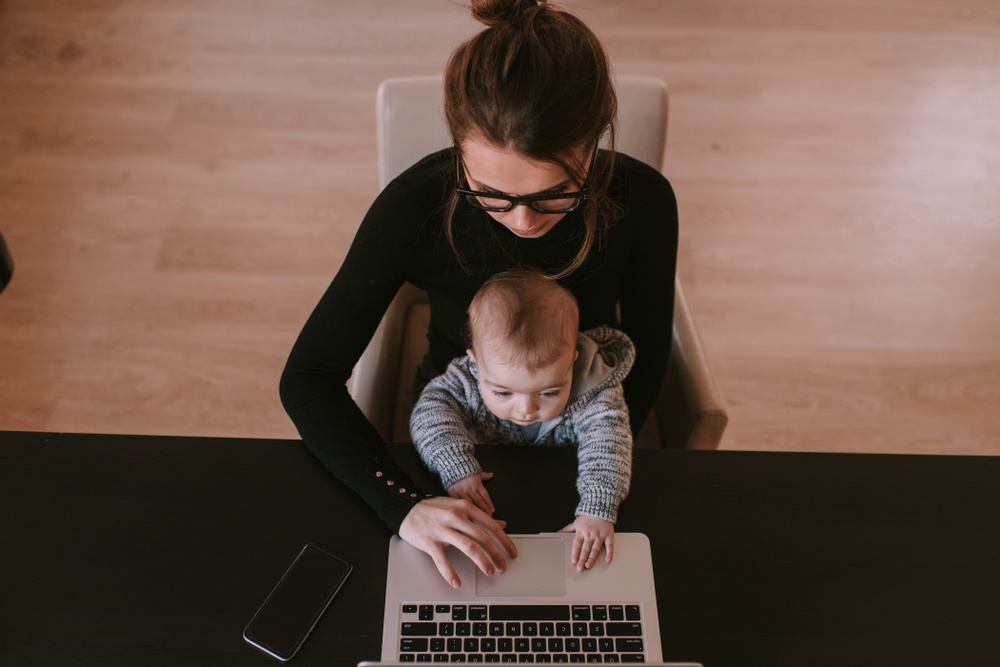 working mum, working from home while looking after children, childcare