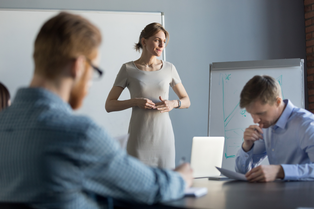 male managers, woman presenting, stressed woman