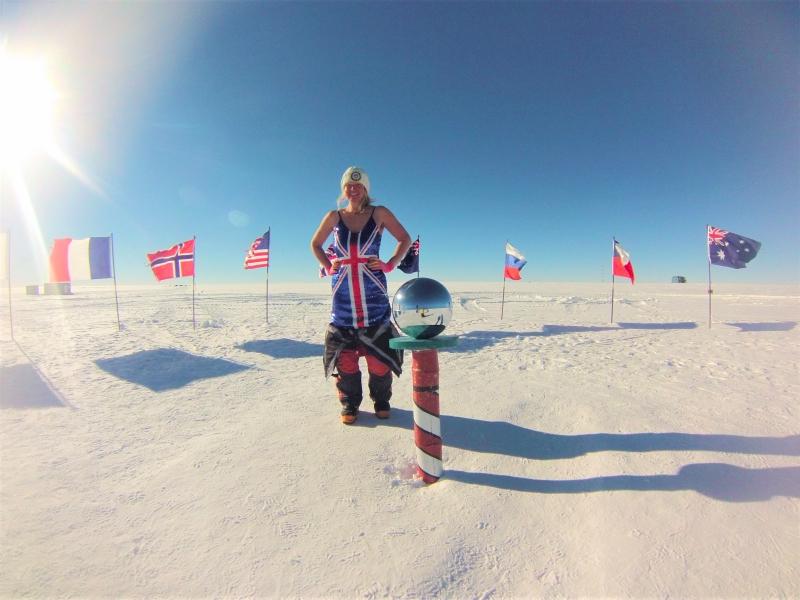 Paula Reid at the South Pole