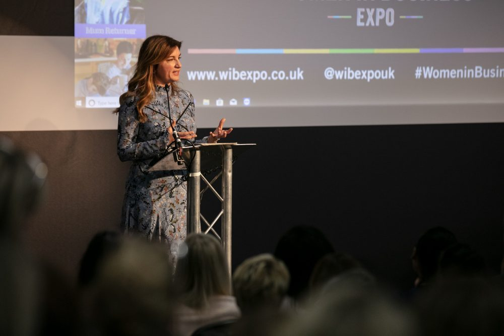 Karren Brady speaking at the Women in Business Expo