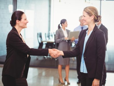 job interview, handshake, two women shaking hands, weakness