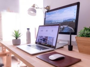 Office desk, Laptop on desk featured