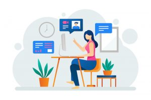 remote working woman illustration at desk
