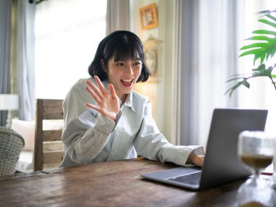 Asian woman on a video call at home, working from home