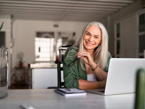 happy woman working from home, flexible working