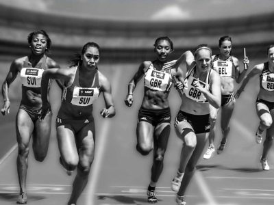 athletes running in a relay race, competitive edge