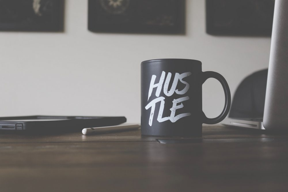 mug with hustle written on it, female entrepreneur, side hustle