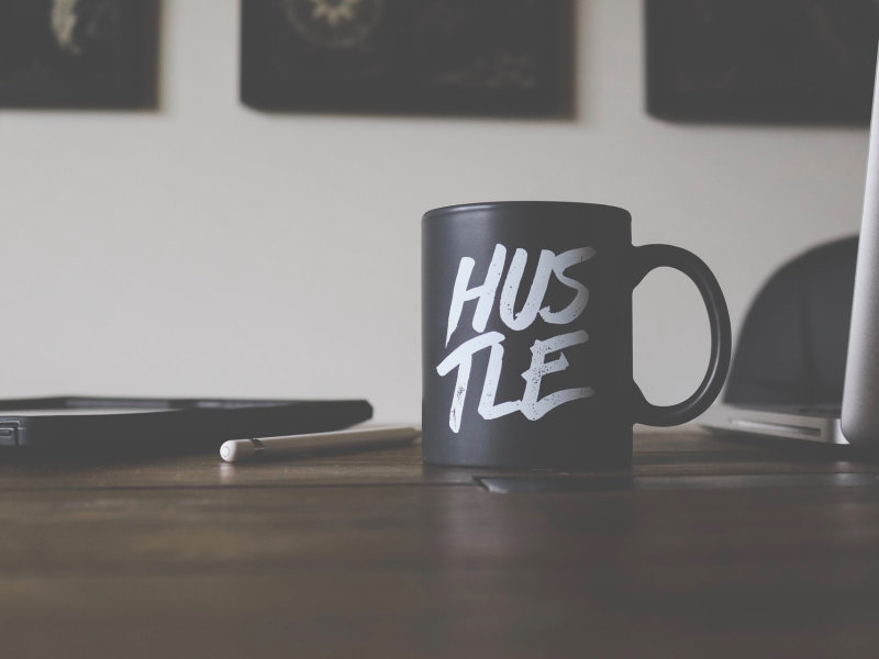 mug with hustle written on it, entrepreneur, side hustle