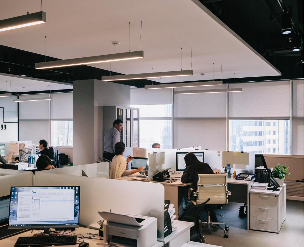 open plan office, people working an office 1