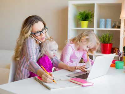 Mum juggling childcare and working from home