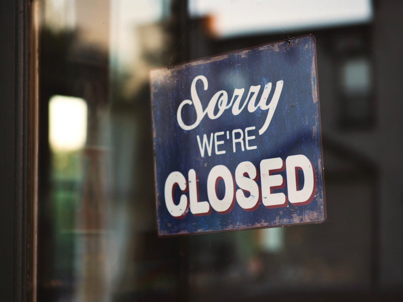 sorry we're closed sign, closed, furlough, covid-19