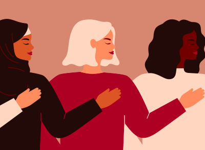 Four young strong women or girls standing together. Group of friends or feminist activists support each other. Feminism concept, girl power poster
