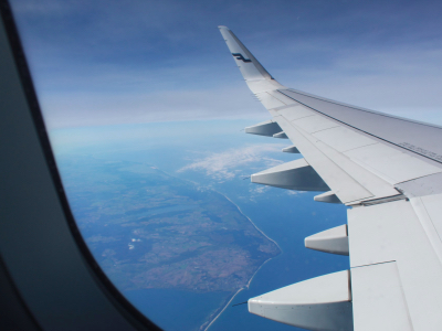 view from an airplane over land, international