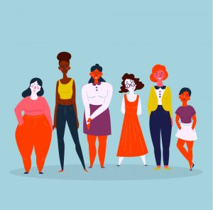 Diverse international and interracial group of standing women, international day of the girl, helen pankhurst