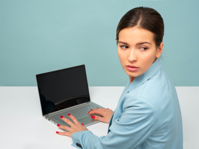 anxious woman working from home