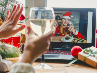 Christmas online holiday remote celebration X mas new year in lockdown, virtual Christmas party