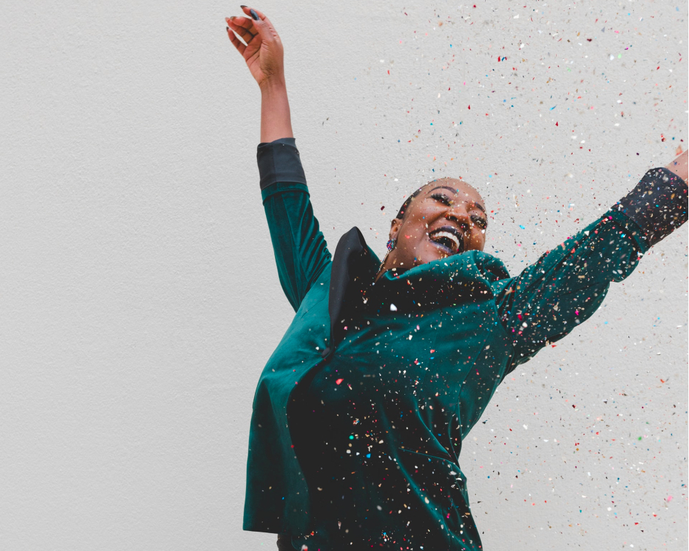 happy woman with glitter, take the credit, 2020