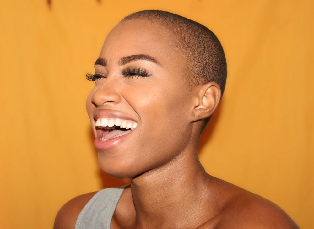 happy, laughing woman with positive energy