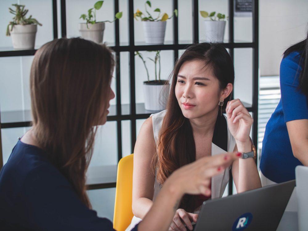 women having a conversation
