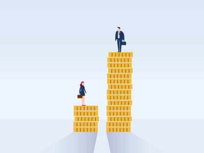 inequality, man and woman standing on coins, gender pay gap featured