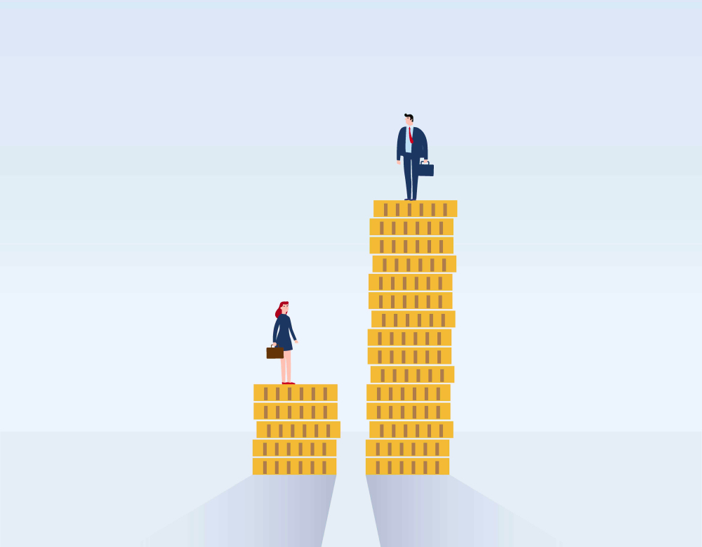 inequality, woman and man standin on coins, gender pay gap