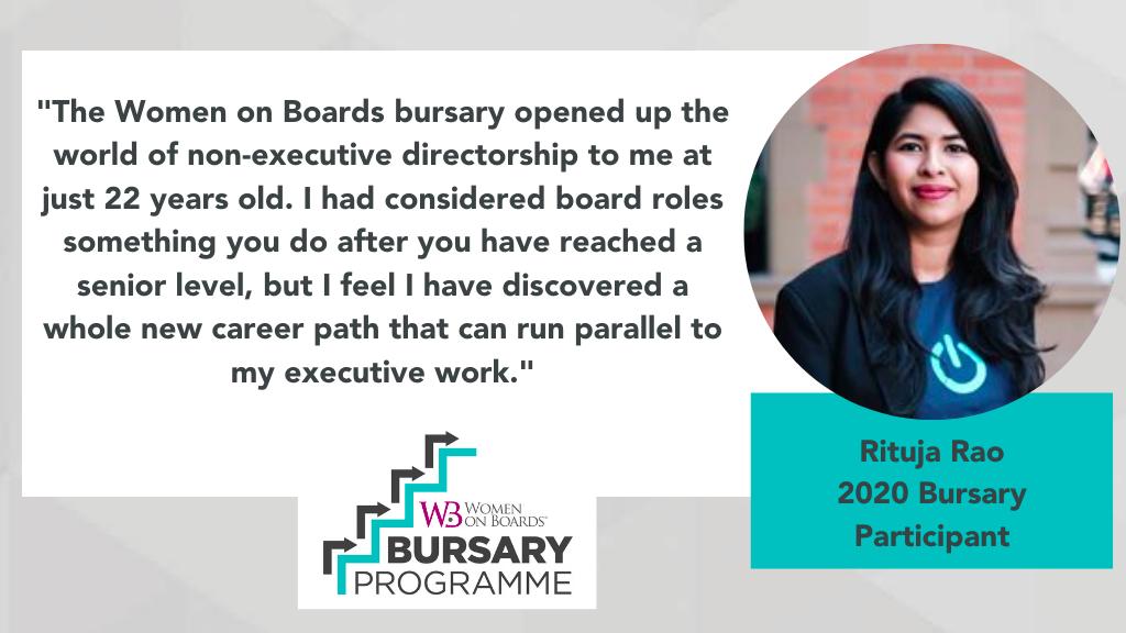 Rituja Rao Bursary Programme Quote - Women on Boards