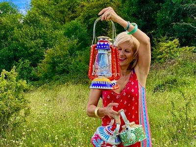 Suzie Bidlake with lanterns featured
