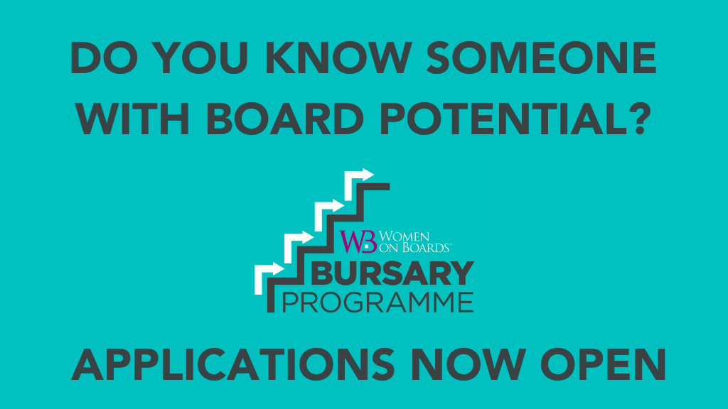 Women on Boards BURSARY 2021 Do you know someone teal background