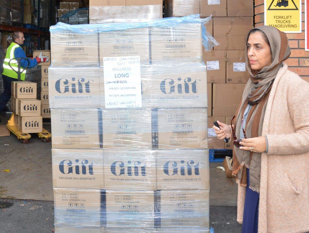 Dr. Zareen Roohi Ahmed preparing shipment to Syria 2